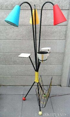 50's lamp with built in Magazine rack and Flower Pot Holders.
