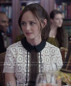 Rory's black and white lace dress on Gilmore Girls: A Year in the Life.  Outfit Details: https://wornontv.net/62618/ #GilmoreGirls