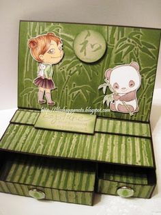 2-drawer Easel box featuring Fumi with Bear Backpack and Sister Stamps Shin-Shin created by Leanne Poe