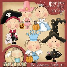 Halloween Girls 1 - Primsy Doodle Designs Country Clip Art