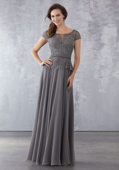 Shop the MGNY 71702 Mother of the Bride Dress! This A-line gown features a beaded lace bodice with cap sleeves, a bateau neckline, and a chiffon skirt. A Line Evening Dress, Chiffon Evening Dresses, A Line Gown, Formal Evening Dresses, Formal Gowns, Lace Chiffon, Chiffon Skirt, Evening Gowns, Homecoming Dresses