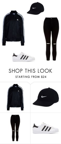 TUMBLR OUTFIT #30 by dellxmller ❤ liked on Polyvore featuring adidas Originals, NIKE and New Look