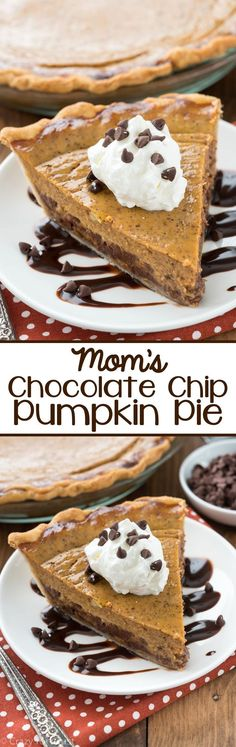 Mom's Chocolate Chip Pumpkin Pie - this easy pumpkin pie recipe is a family