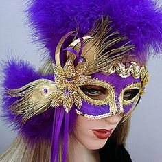 Gypsy mask is a from Gypsy Renaissance's Glamour & Glitz mask collection. Gypsy is a handmade mask with feathers, sequin appliques, and dangles. Inspired by the Nyx Krewe of New Orleans Mardi Gras Mauve, Flapper Headband, Sequin Appliques, Mask Party, Masquerade Ball, Diy Mask, Mask Design, Renaissance, Hair Clips