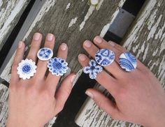 Amazing jewellery by Harriet Damave on her Etsy shop! http://www.etsy.com/listing/94818716/porcelain-ring-hand-painted-blue-delft