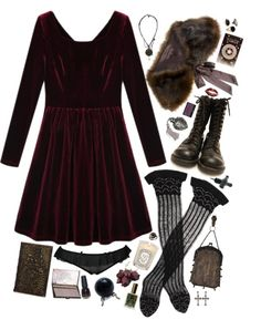 A fashion look from March 2013 featuring red dresses, brown shrug and transparent socks. Browse and shop related looks. Grunge Goth, Nu Goth, Beautiful Outfits, Cool Outfits, Fashion Outfits, Fashion Trends, Witch Fashion, Dark Fashion, Visual Kei