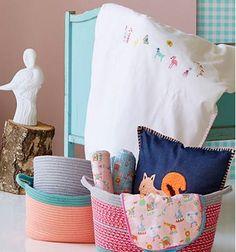Rice baby bed linen storage basket circus print night light