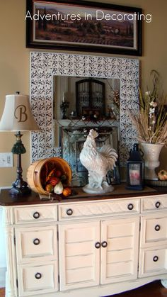 Since I shared our Fall mantel the other week, it occurred to me that I haven't shown the rest of the great room in quite awhile! Of course. Rooster Kitchen Decor, Rooster Decor, French Country House, French Country Decorating, Country Style, Repurposed Furniture, Home Furniture, Refurbished Furniture, Home Decor Bedroom
