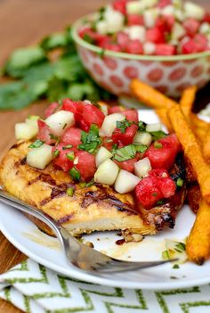 Marinated Grilled Chicken with Cucumber-Watermelon Salsa | iowagirleats.com