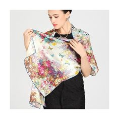 long silk scarf with vivid butterflies (€55) ❤ liked on Polyvore featuring accessories and scarves