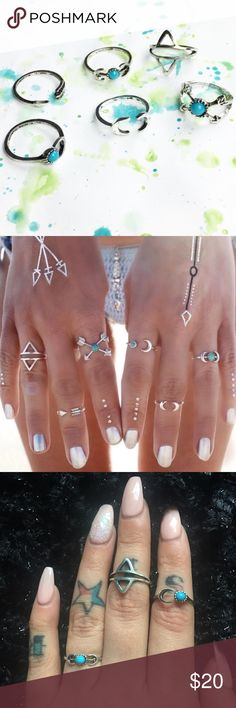 🏹6pc. Arrow Ring Set (Silver&Turquoise) 🏹Boho Silver & Turquoise ring set (6 rings included in each set). The ring sizes in the set vary per ring style (some rings fit as midi-rings). Material content includes allot metals & stimulated turquoise stone.  ❓Any questions, feel free to ask! 📲 🚫NO TRADES🚫 ‼️PRICE IS FIRM‼️  📌NOT FREE PEOPLE BRAND!! Just used it for exposure!📌 Free People Jewelry Rings