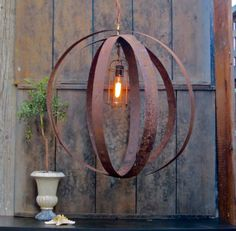 Vintage Wine Barrel Band Chandelier  by CityandSeaVintage on Etsy, $475.00