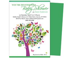 Baby Shower Invitations Template: Celebrate Tree Shower Invitation Templates.  Edit yourself with Word, Publisher, Apple iWork Pages