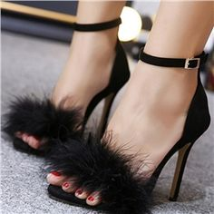 Three Color Open Toe Heeled Sandals