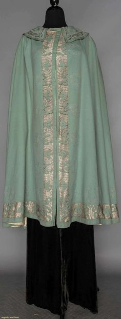 Dusty Blue Cape W/ Napolean Inspired Mootif, 1910, Augusta Auctions, November 11, 2015 NYC