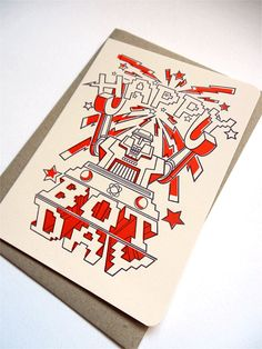 SALE Happy Bot Day Letterpress Gift Card in by oliveandthevolcano, $4.00