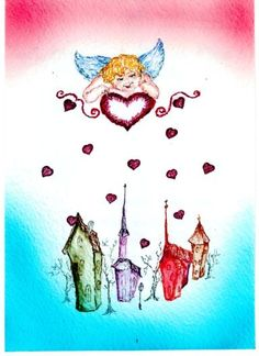 "Original watercolors Greeting Card ""Valentine"" from artist Marina Sciascia (USA)"