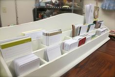 Wood holder divider for craft table that holds journal cards, paper, sticky notes, etc...