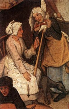 Proverbs bu Pieter Brueghel the Younger on 15th century spinning blog.   Holding distaff!