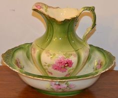 circa 1880 - Victorian - similar to Limoges - pink roses washbowl & pitcher set