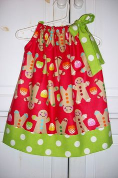 Christmas Pillowcase Dress GINGERBREAD and GUMDROPS Red Lime baby toddler girl Holiday. $18.99, via Etsy.