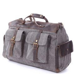Gray Mens Retro handmade canvas leather overnight by JorkerGee on etsy $49.99