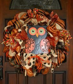 Mesh Halloween until Spring Owl Wreath by OmahaWreaths on Etsy