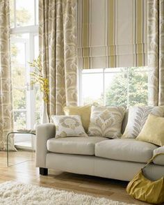 Ashley Wilde - Zahira Fabric Collection - Yellow and cream striped roman blind with modern floral curtains and cushions - Futura Home Decorating Stylish Living Room, Ashley Wilde, Custom Made Curtains, Cool Curtains, Curtains, Roman Blinds, Designer Drapes, Blinds, Lounge Design