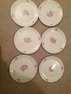 Vtg Tabletops Unlimited Pink Rose Ironstone Dinnerware Svc for 6 BREAD PLATES Antique China, Dinnerware, Decorative Plates, Bread, Antiques, Rose, Pink, Home Decor, Dinner Ware