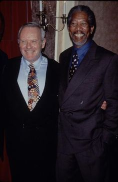 """Anthony Hopkins and Morgan Freeman at the """"Amistad"""" premiere (1997)"""