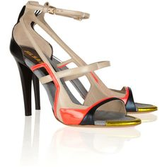 #Jil #Sander Color-block leather sandals ($440) ❤ liked on Polyvore