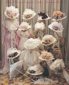 Victorian hats ... a time when all ladies wore hats! Use to sell these, kept 25.....eek, love the look & just think I was born in the wrong century.