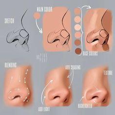 Nose Drawing, Drawing Tips, Drawing Artist, Sketch Painting, Drawing Process, Painting Tips, Digital Painting Tutorials, Digital Art Tutorial, Photoshop Drawing Tutorials