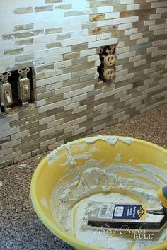 Coastal Inspired DIY Tile Backsplash Tutorial (anyone can do! Diy Tile Backsplash, Vinyl Wood Planks, Coastal, It's Easy, Artsy, Canning, Inspired, Modern, Kitchen
