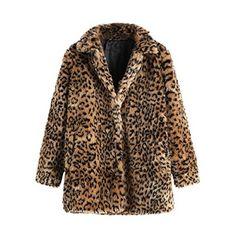 Choies Women's White Leopard Lapel Faux Fur Jacket Winter Polka Dot Fur Coat s at Amazon Women's Coats Shop