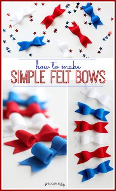 Red White Blue Felt Hairbows by @Kay Little Bee Crafts