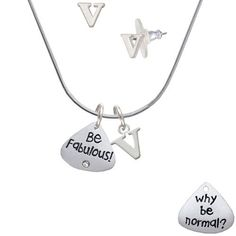 Resin Why be Normal? Be Fabulous! - V Initial Charm Necklace and Stud Earrings Jewelry Set >>> To view further for this item, visit the image link. (This is an affiliate link) #JewelryForWomen