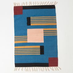 Beautiful area rug handwoven on a traditional loom. Made from soft organic cotton and natural dyes. Made to order. Please...