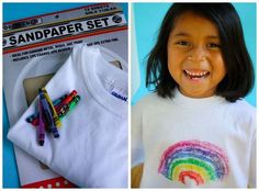 31.) Help kids create their own t-shirt designs with crayons and sand paper.