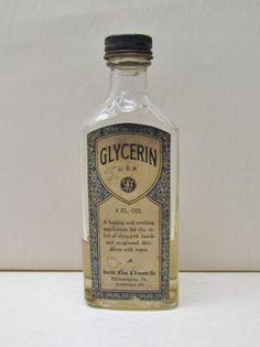 Vintage glycerine bottle 1930's collectible by mathildasattic
