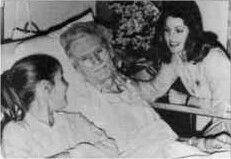 Priscilla & Lisa visit Vernon in the hospital, 1979.  Elvis' Father, Vernon Elvis Presley was born on April 10, 1916 in Fulton, Mississippi to Jesse (1896-1973) and Minnie Mae Hood, 'Grandma Dodger' Presley (1890-1980). Vernon was seventeen when he married Gladys--Vernon passed away June 1979, Memphis, Tennessee, USA (heart attack) at age 63.