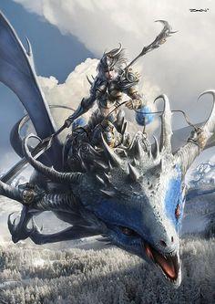 Dragon Queen by Zeen JingHui. should make a dragon riding game thatd be so sick Fantasy Artwork, 3d Fantasy, Fantasy Kunst, Fantasy Dragon, Dragon Art, Fantasy World, Blue Dragon, Fantasy Warrior, Fantasy Creatures