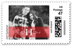 Monogram Stripe Personalized Postage Stamps, Square, Dynamiccolor