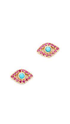 Small Bezel Evil Eye Stud Earrings
