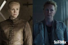 Gwendoline Christie plays a brilliant, but ruthless fighter as Brienne of Tarth in Game of Thrones, and Cressida in Hunger Games: Mockingjay. Left image: HBO, via IMDb. Right image: Paramount, via Mockingjay Part 2 trailer.