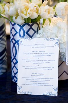 Menu ~ Navy and white color palette throughout this wedding. Love it! Photography by angiesilvy.com