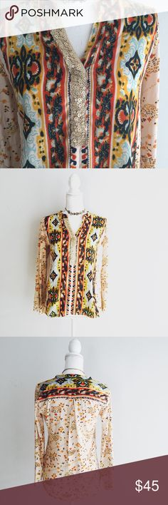Anthropologie tiny devas sequined ikat popover XS Anthropologie ikat sequined popover by tiny  Size XS Good condition  Mixed print Anthropologie Tops