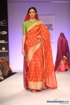 Red sari. Gaurang Show at Lakme Fashion Week Summer/Resort 2014