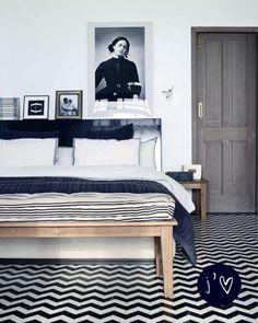 encaustic floor, grey stained wood door