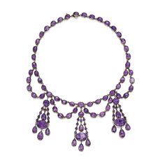 Gold and Amethyst Necklace The festoon-style necklace supporting oval, round and pear-shaped amethysts, gross weight approximately 30 dwts, length 15 inches; late 19th century. Estimate  10,000 — 15,000  USD